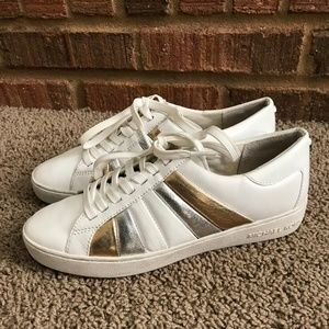 Michael Kors White/Gold Leather Sneakers.